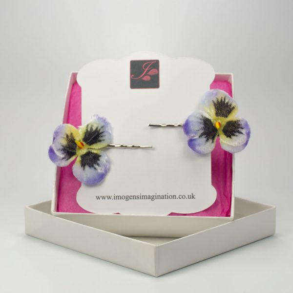 Blue Pansy Flower Hair Clips box