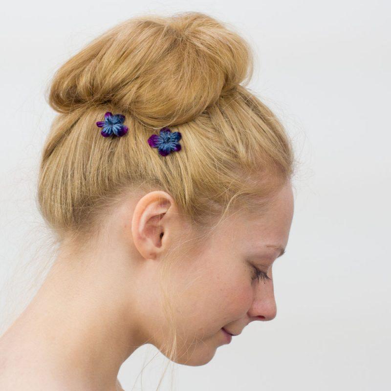 Navy Blue Blossom Flower Hair Clips