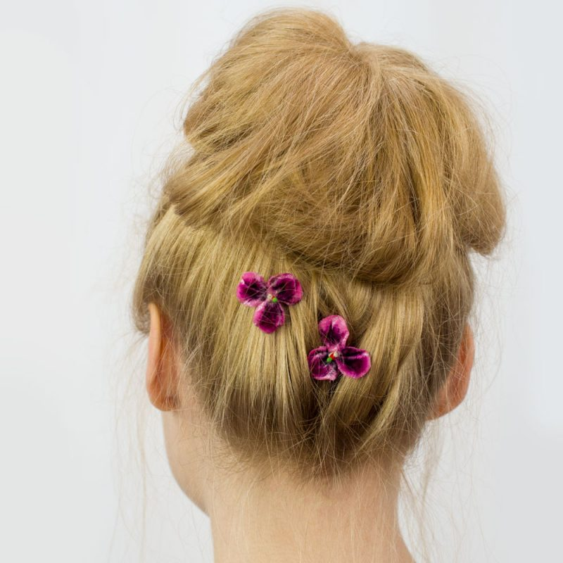Pink Pansy Flower Hair Clips