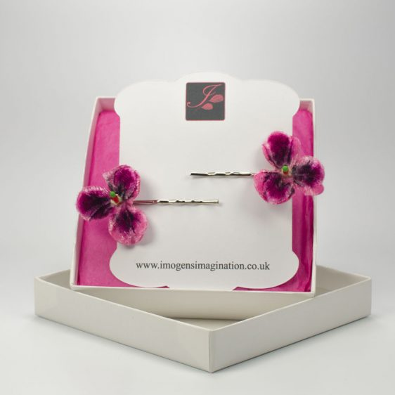 Pink Pansy Flower Hair Clips box