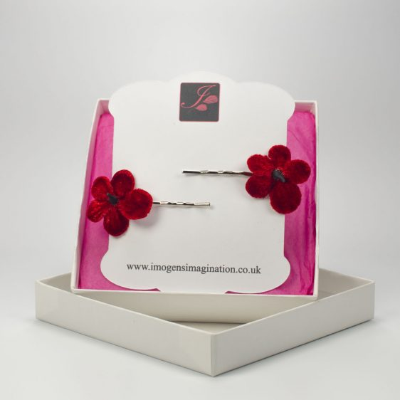 Red Blossom Flower Hair Clips box