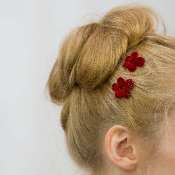 Red Blossom Flower Hair Clips