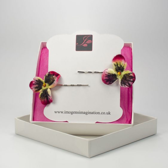 Red Pansy Flower Hair Clips box