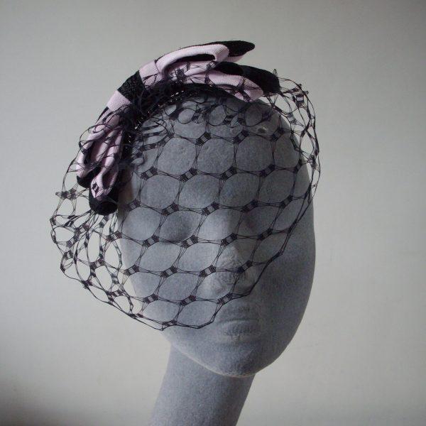 Black Straw Bow with Birdcage Veil
