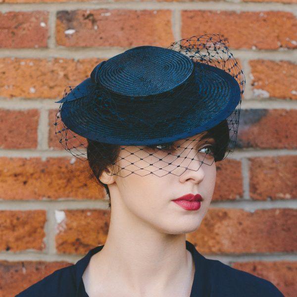 Navy Straw Boater with Ribbon Bow and Veil angle 2