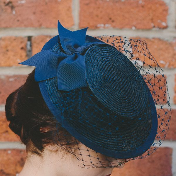 Navy Straw Boater with Ribbon Bow and Veil detail
