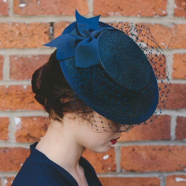 Navy Straw Boater with Ribbon Bow and Veil top view