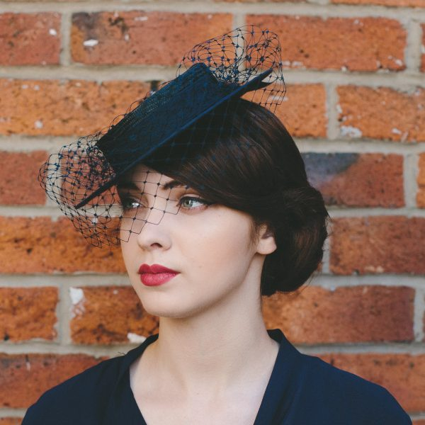 Navy Straw Boater with Ribbon Bow and Veil angle