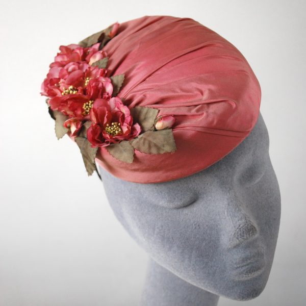 Pink Silk Hat with Blossom Flowers detail2