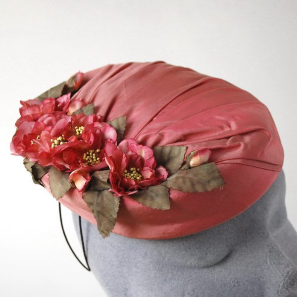 Pink Silk Hat with Blossom Flowers detail