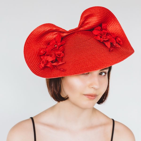 Red Saucer Hat with Orchid Flowers