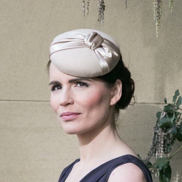 Stone Felt Button Hat with Satin Knot