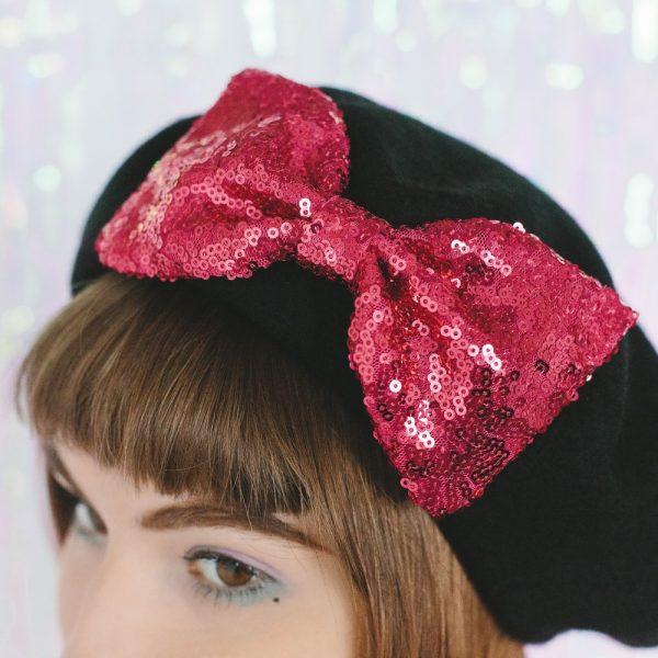 Black Beret Pink Sequin Bow detail 2