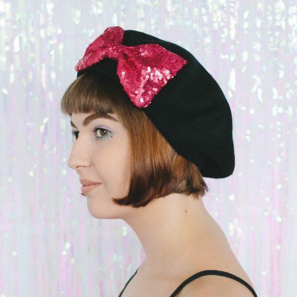 Black Beret Pink Sequin Bow side