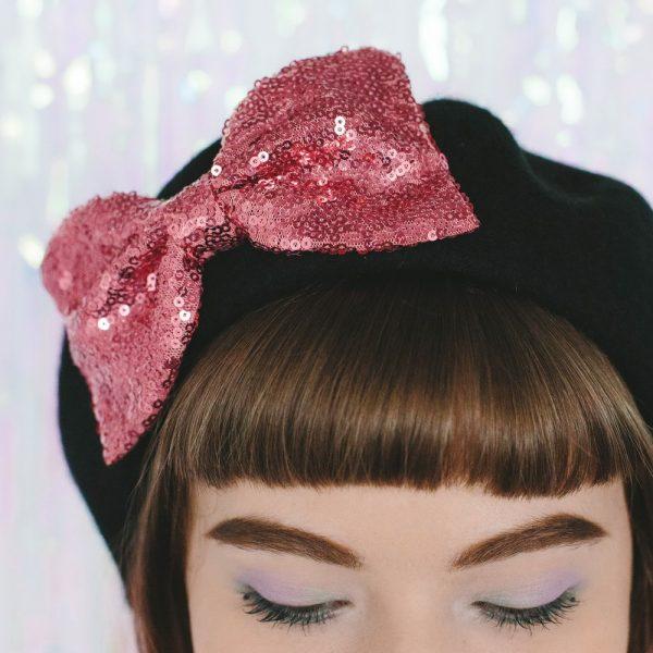 Black Beret Rose Pink Sequin Bow detail