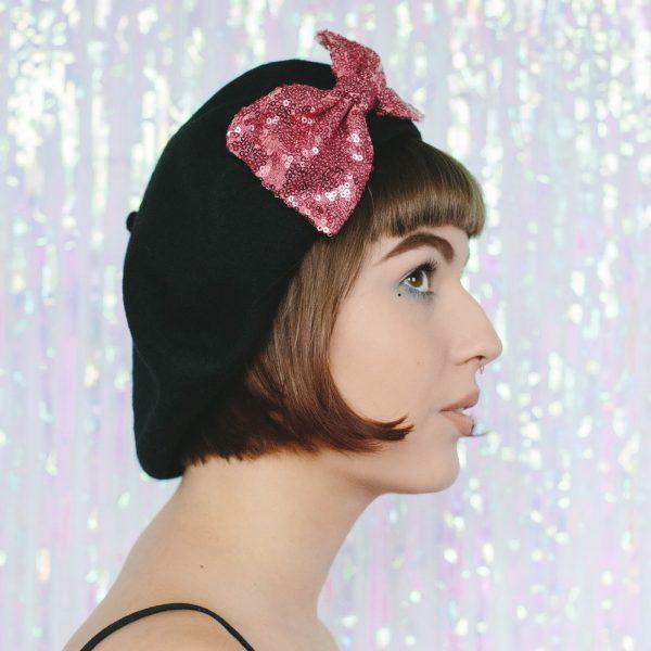 Black Beret Rose Pink Sequin Bow side