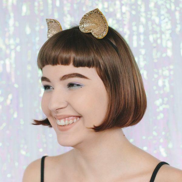 Gold Glitter Ears Headband angle