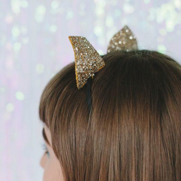 Gold Glitter Ears Headband back
