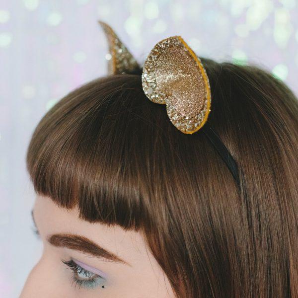 Gold Glitter Ears Headband detail