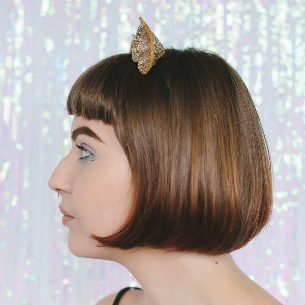 Gold Glitter Ears Headband side