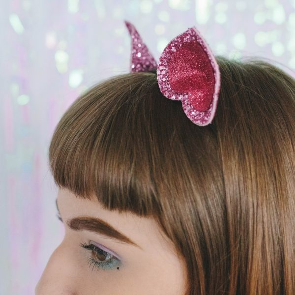 Pink Glitter Ears Headband detail