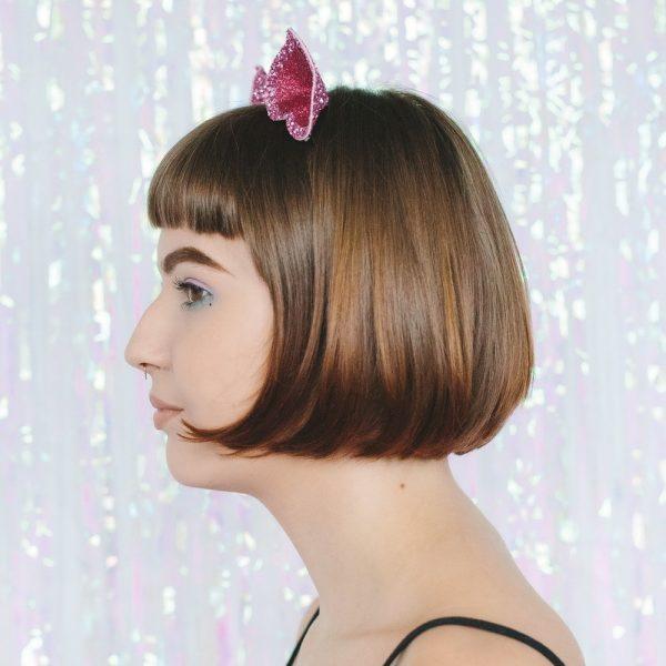 Pink Glitter Ears Headband side