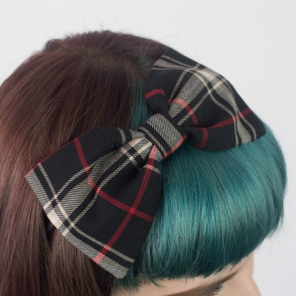 Black Tan Tartan Bow Headband