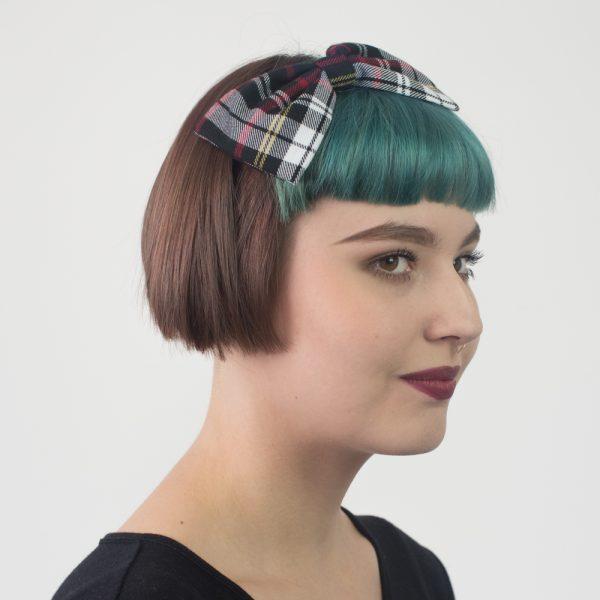 Black White Tartan Bow Headband