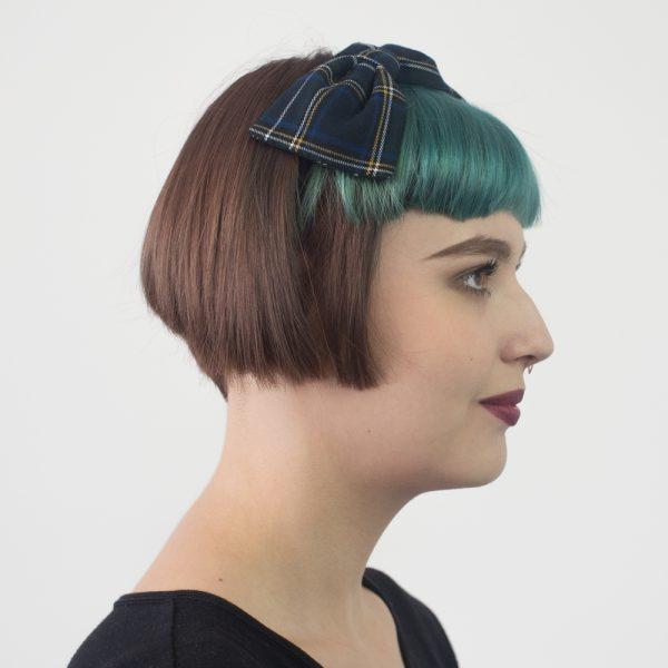 Navy White Tartan Bow Headband