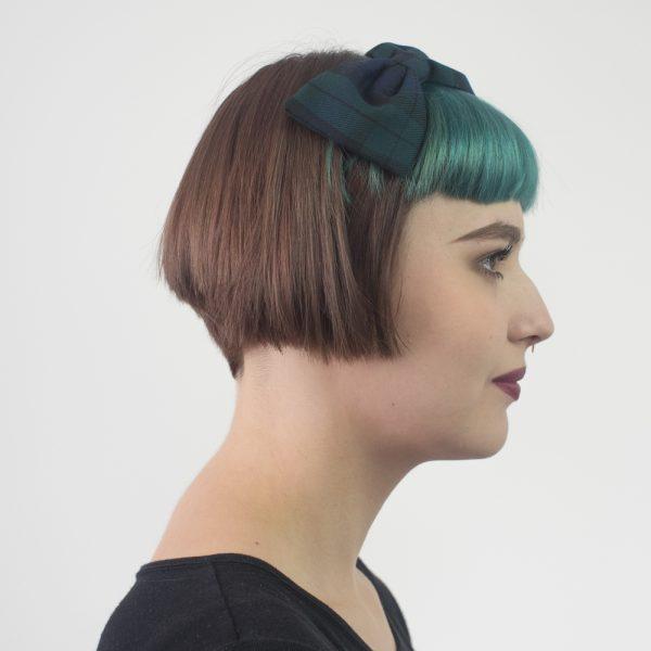 Navy Blue Green Tartan Bow Headband