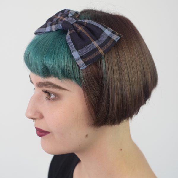 Purple Lilac Tartan Bow Headband
