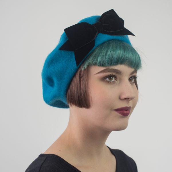 Turquoise Beret Black Velvet Ribbon Bow
