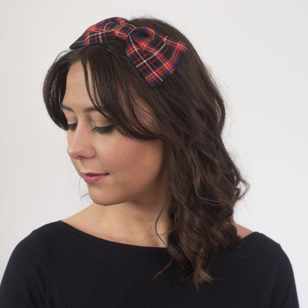 Black Red Tartan Bow Headband