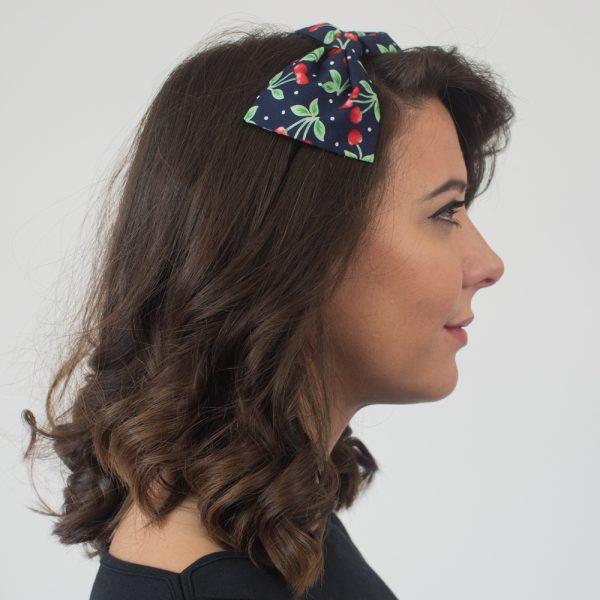 Navy Blue Cherry Bow Headband