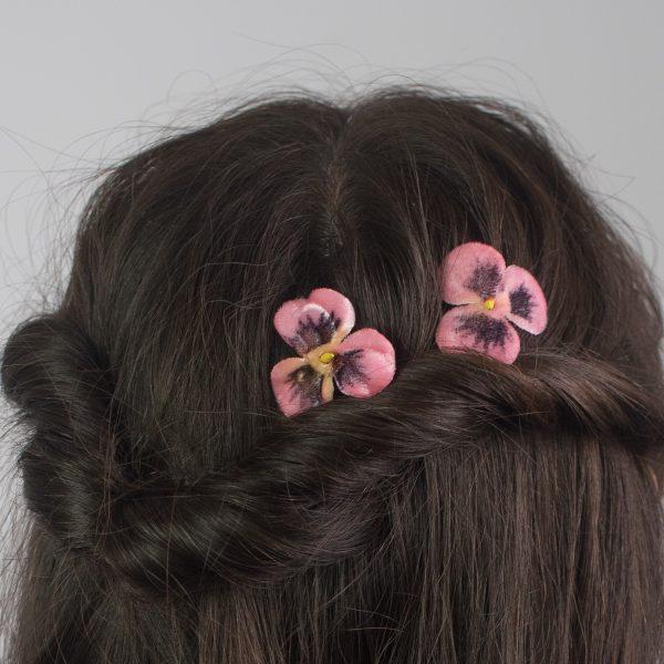 Peach Pansy Flower Hair Clips