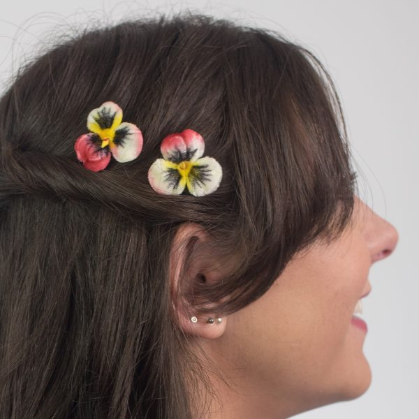Peach White Pansy Flower Hair Clips
