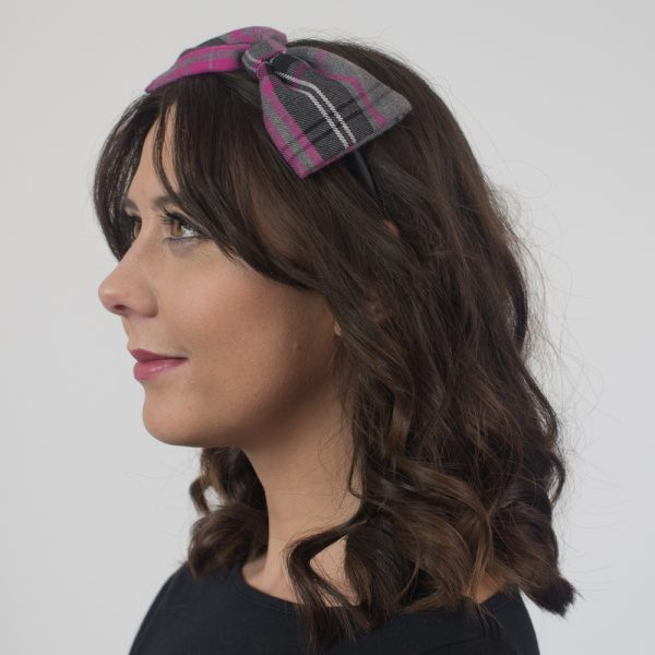 Pink Grey Tartan Bow Headband