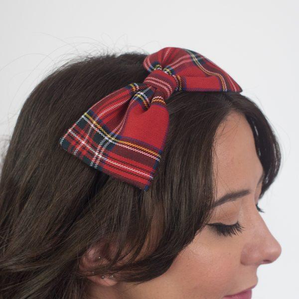 Red Tartan Bow Headband