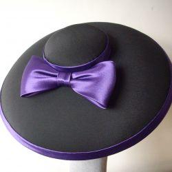 Black Mushroom Brimmed Hat with Bow
