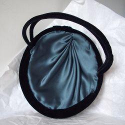 Black Velvet Tilt Hat with Beading