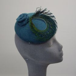 Turquoise Wool and Peacock Feather Button Hat