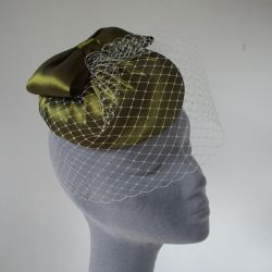 Green Pleated Silk Button Hat with Birdcage Veil