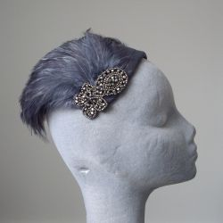 Grey Silk Calot Hat with Hackle Feathers