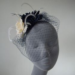 Navy and Ivory Rose Fascinator with Birdcage Veil