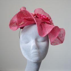 Pink Sinamay Wave and Rose Fascinator