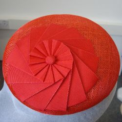 Red Sinamay Button with Ribbon Rosette