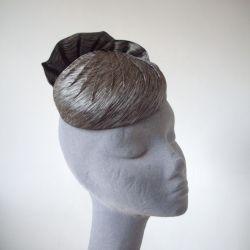 Grey Pleated Silk Button Hat