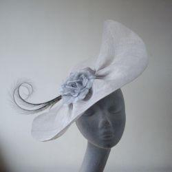 Grey Sinamay Bias Brimmed Hat