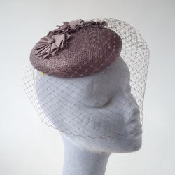 Taupe Sinamay Button Hat with Birdcage Veil