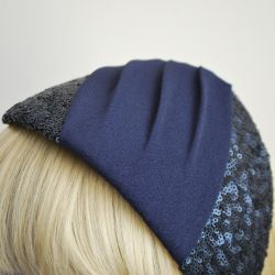 Navy Sequin and Pleated Crepe Half Hat detail